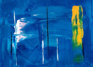 Abstract painting on canvas, with blue white black and yellow paint