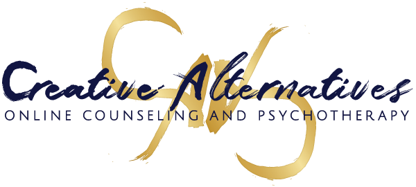 Creative Alternatives Online Counseling and Psychotherapy logo with byline